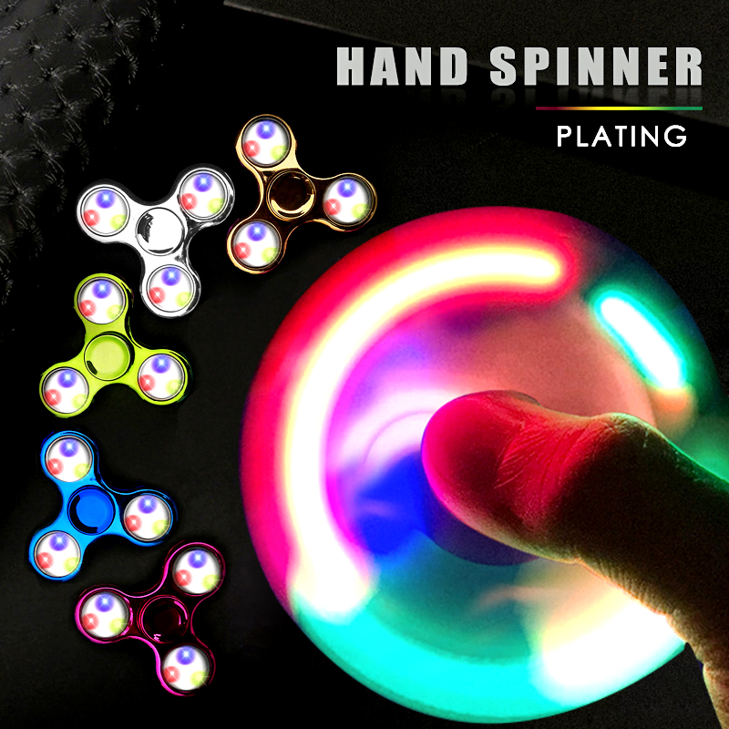 LED Fidget Spinner Hand Glow Flash Lights Finger Spinners Toys For ADHD...