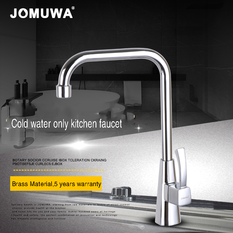 JOMUWA Brass Cold Only Kitchen Faucet Mixer Single Handle