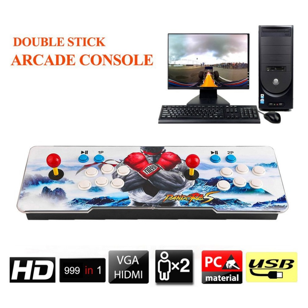 цена на 999 In 1 Home TV Monitor Multiplayer Arcade Game Console Controller Kit Set Double Joystick Console Support HDMI VGA UK Plug