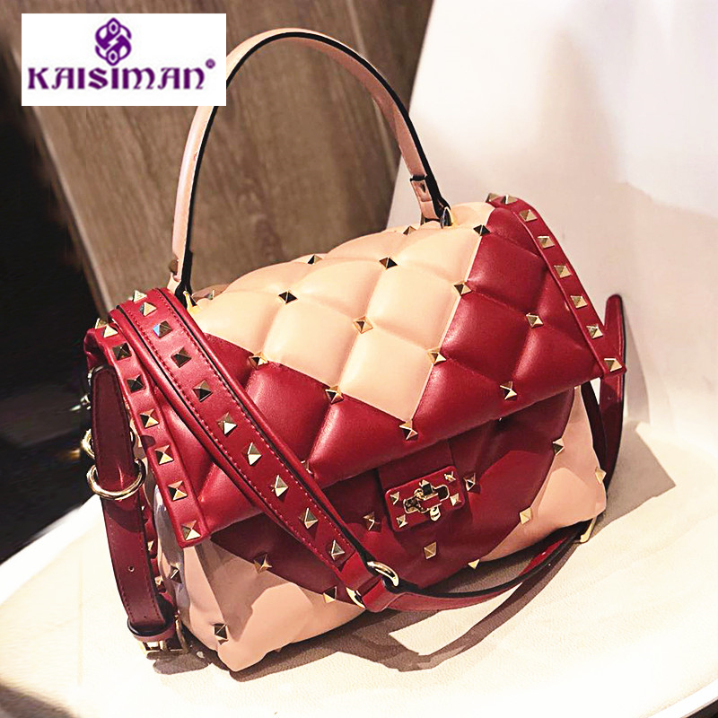 2018 Super Luxury Show Women Handbags Vogue of New Fund Famous Brand Designer Apart Rivet Shoulder