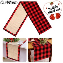 OurWarm Christmas Table Runner Reversible Buffalo Plaid Burlap Lumberjack Birthday Party Decorations
