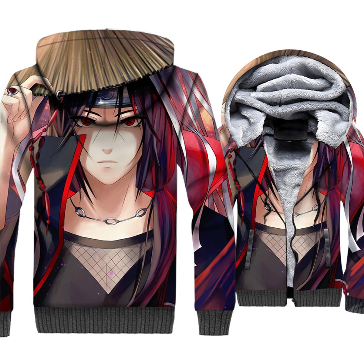 Sasuke Hoodies Men Naruto Uzumaki 3D Jacket Japan Anime Harajuku Sweatshirt Winter Thick Fleece Zipper Coat Hipster Sportswear