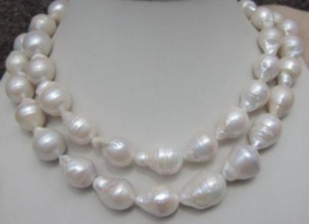 HUGE 12-18MM NATURAL AAA SOUTH SEA WHITE BAROQUE PEARL NECKLACE 35 INCH AAA fast huge 12 13mm natural tahitian south sea white green pearl necklace 18 aaa