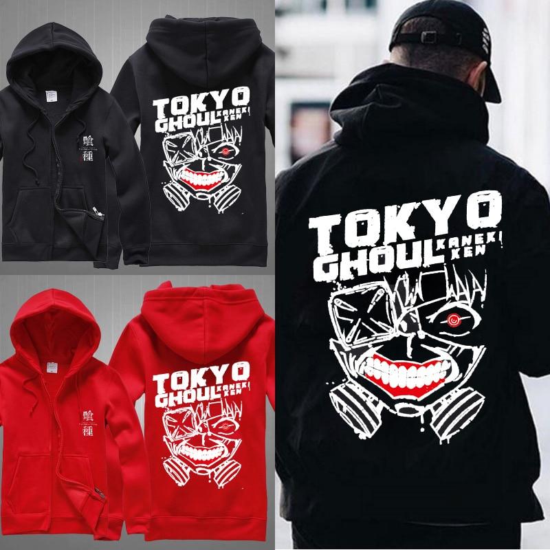 MIDUO 2018 Spring Jacket Tokyo Ghoul Anime Ken Kaneki Mask Cosplay Cotton Cashmere Fleece Sweatshirts Cardigan Hooded Men Zipper