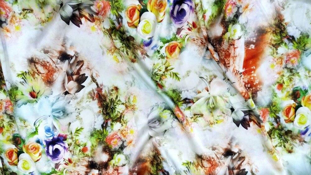 Super dentelle tissée Satin pur soie tissu matériel robe bleu fleur textile spandex mètre couture tela para tapizar tissu jersey