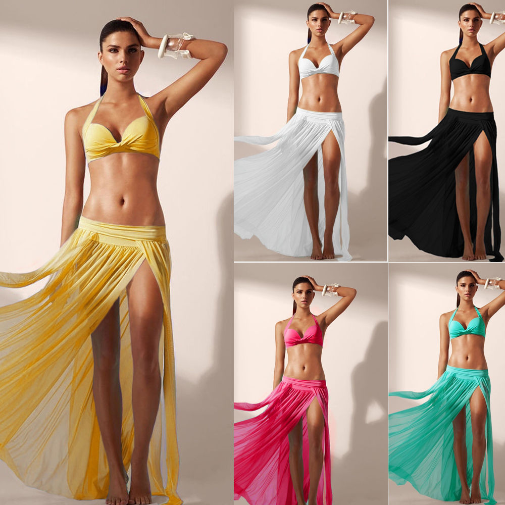 Fashion Women Summer Sexy Wrap Beach Bikini Cover Up Swimwear Sarong Mesh Chiffon Slit Long Skirt