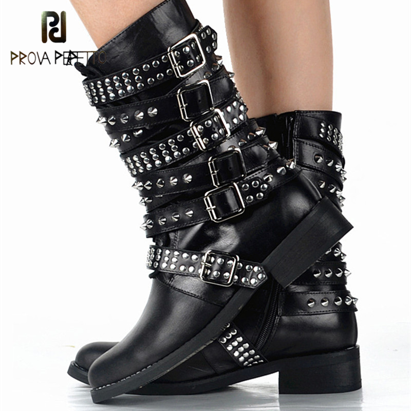 Prova Perfetto British Style Leather Mid Boots Personality Full Rivets Design Boot Women Black Belt Buckle Martin Shoes Low Heel prova perfetto fashion round toe low heel mid calf boots feminino buckle belt thick bottom genuine leather women s martin boots