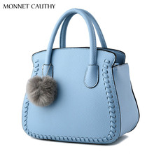 MONNET CAUTHY 2017 New Fashion Female Bags Solid Color Sky Blue Lavender Black Grey Purple Totes Elegant Office Ladies Handbags