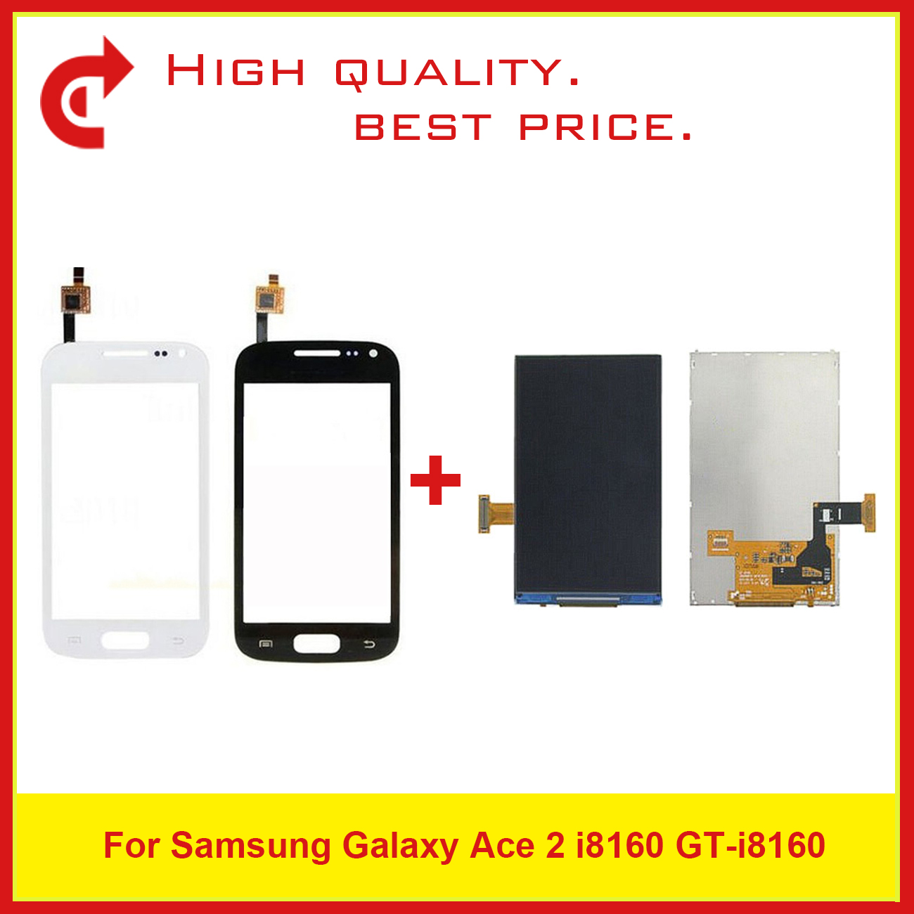 "High Quality 3.8"" For Samsung Galaxy Ace 2 i8160 LCD Display With Touch Screen Digitizer Sensor Panel+Tracking Code-in Mobile Phone LCD Screens from Cellphones & Telecommunications"
