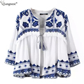 TANGNEST Printed Blouse Open Lapel 2017 Spring Linen Cotton Flower Embroidery Outwear Sunscreen Shirt Women WWK305