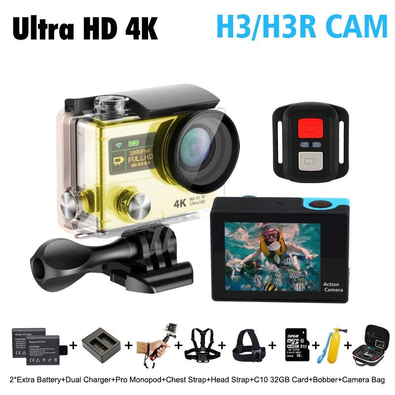 H3R H3 4 K 25FPS plus ultra Cam WIFI Acción cam H8se eken dos doble doble pantal