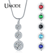 UMODE 2019 New Paved Round Clear Green Red Blue Black Zircon Pendant Necklaces for Women White Gold Snake Chains Jewelry AUN0364