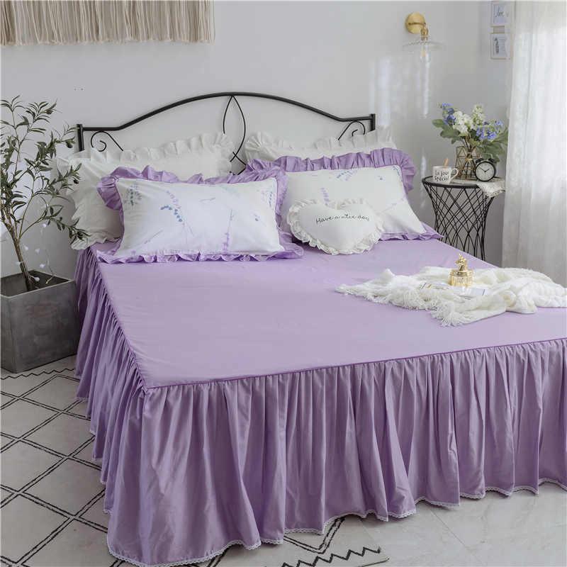 3 個高級 Rufflled 寝具セットロマンチックなレースのベッドスカートベッドシート枕カバーツインクイーンキングサイズのベッドカバーガールルーム