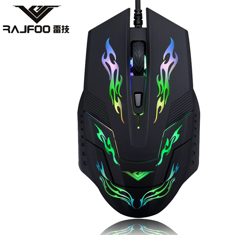 True Newest Colorful RAJFOO I5 Wired USB Luminous Mouse for Business Entertainment font b Gaming b