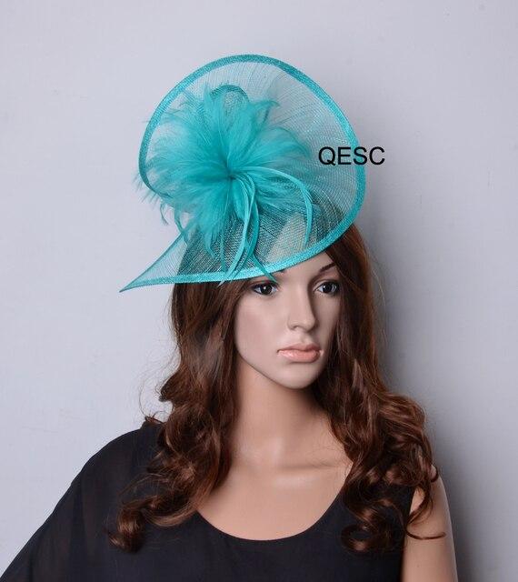 Verde speciale forma di matrimonio in chiesa sinamay cappello di Fascinator  della piuma per Il Kentucky 672b425165da