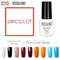 ROSALIND 24PCS/Lot gel nail polish Solid Color Series Gel lacquer 7ML White Bottle Resin Nails varnish UV Soak Off Nail Art