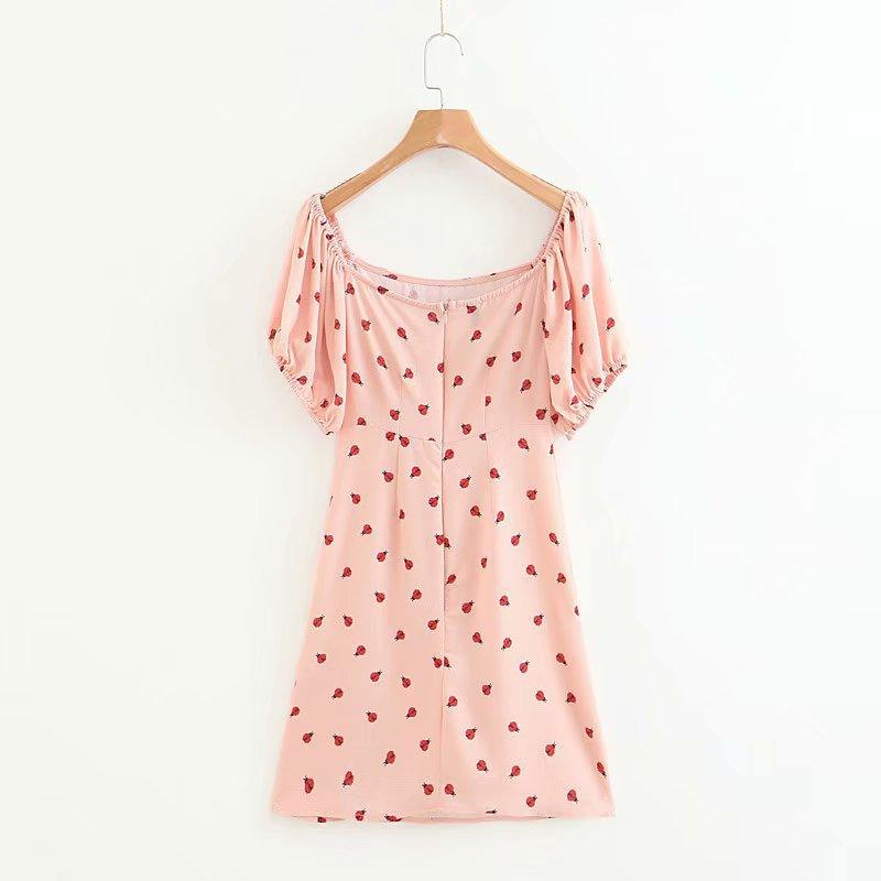 Vestido a la moda de verano manga de Puff envuelto pecho mariquita impreso un hombro bolsa cadera vestido femenino Sexy moda mujer ropa - 4