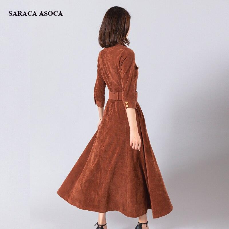 Spring Autumn High Waist Vintage Corduroy Long Dress Women Three Quarter Straight Mid Calf Long Dress