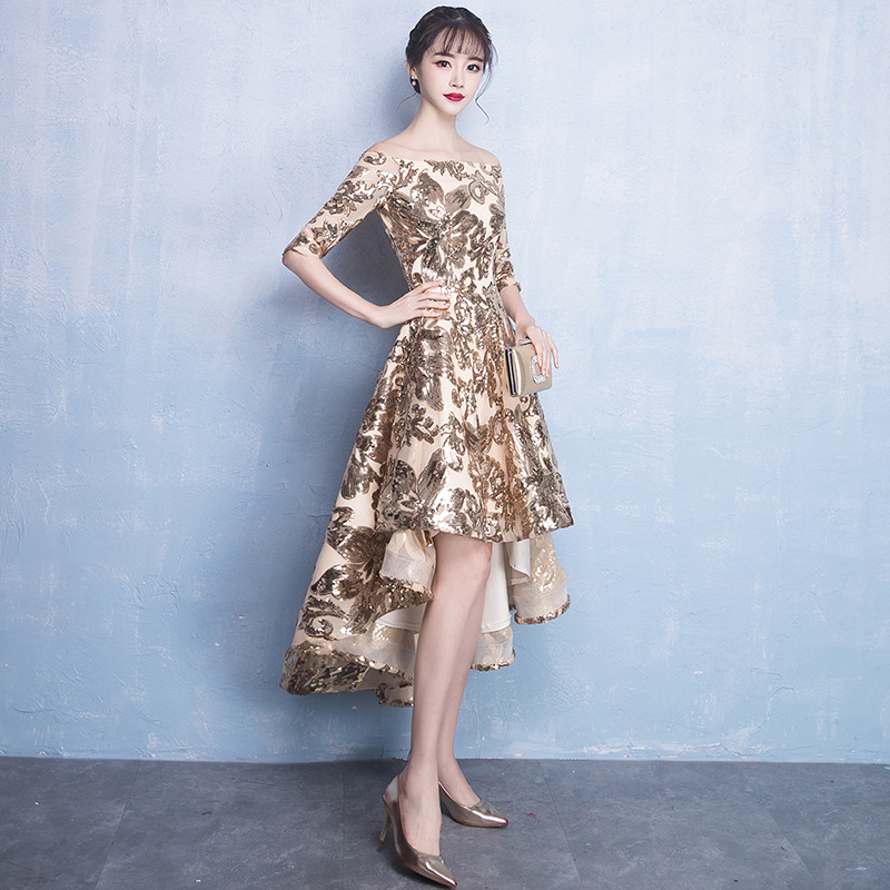 Dongcmy Bridesmaid-Dresses Half-Sleeve Wedding-Party Gold-Color Vestido-Gown Princess