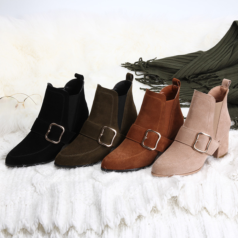 цены L&T NEW Autumn winter short cylinder boots with high heel boots shoes Martin boots women ankle boots with thick scrub COW SUEDE