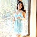 Скидка! Сексуальные женские Трусы Платье Платье Женщины Кружева аксессуар Синий Ночной Рубашке Сексуальная Спящая Платья женская Мода Пижамы