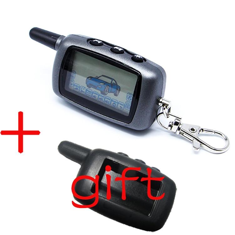 Twage A6 LCD Fernbedienung Keychain + Silikon Fall Für Fahrzeug Sicherheit Zwei Weg Auto Alarm StarLine A6 Keychain