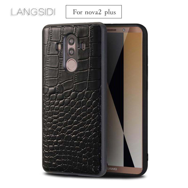 LANGSIDI For Huawei Nova2 Plus phone case Premium Handmade Luxury genuine crocodile leather case For Other cover