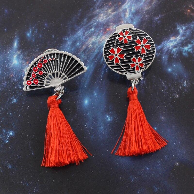 US $1 25 31% OFF|Retro Lantern Fan Tassel Brooch Cherry Lantern Plum Flower  Hand Fan Fringe Alloy Enamel Pin Backpack Badge Artists Jewelry Gifts-in