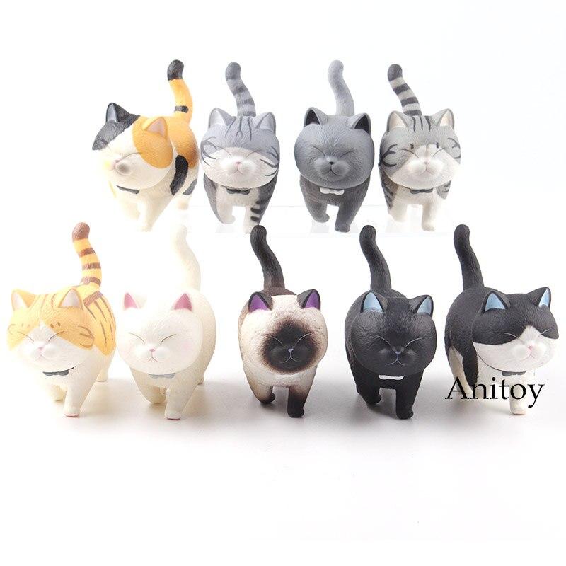 Anime Cat Figure Cats Neko Kawaii Figure Action PVC Lovely Animal Toys for Children 9pcs/set цена