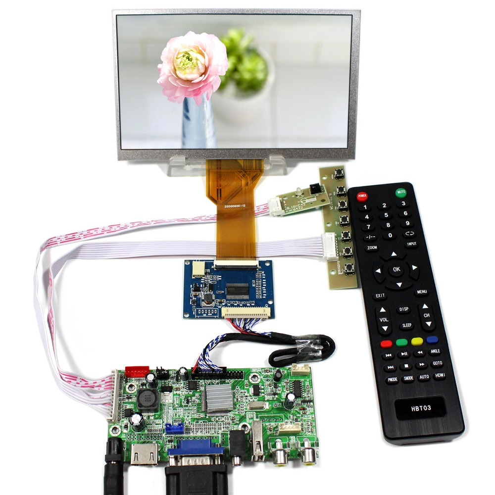 HDMI+VGA+AV+Audio+USB LCD Controller Board With 7inch 800x480 AT070TN92 TN93 LCD Screen hdmi vga 2av reversing lcd controller driver board with 6 2inch 800x480 hsd062idw1 lcd panel