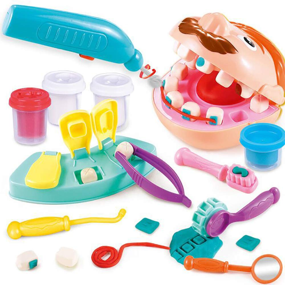 13pcs Doctor Kit For Kids Dentist Pretend Play Toy Check Teeth Clay Mud Model Set