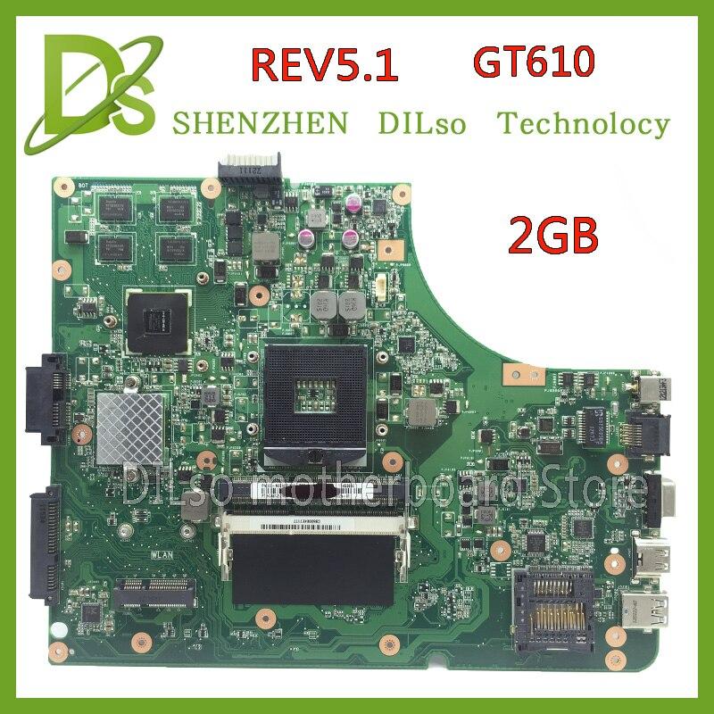KEFU K53SD HOT! Voor Asus K53SD Moederbord REV 5.1 Laptop Moederbord Met Grafische Kaart GT610M 2 GB Test Werk 100%