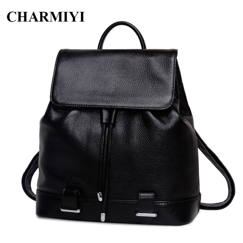 CHARMIYI 2017 Luxury Real Leather Women Backpacks High quality Teenage Student School Bag for Girls Casual Cover Travel Backpack