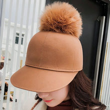 fcc2092a756 2018 New Autumn Winter Ball Equestrian Hat Rabbit Fur Ball Baseball Cap  Ladies Cap Wholesale Hot Women s Wool Hat free shipping