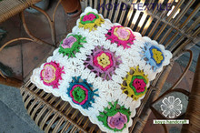Handmade Floral Flower Knit Crochet Cushion Cover