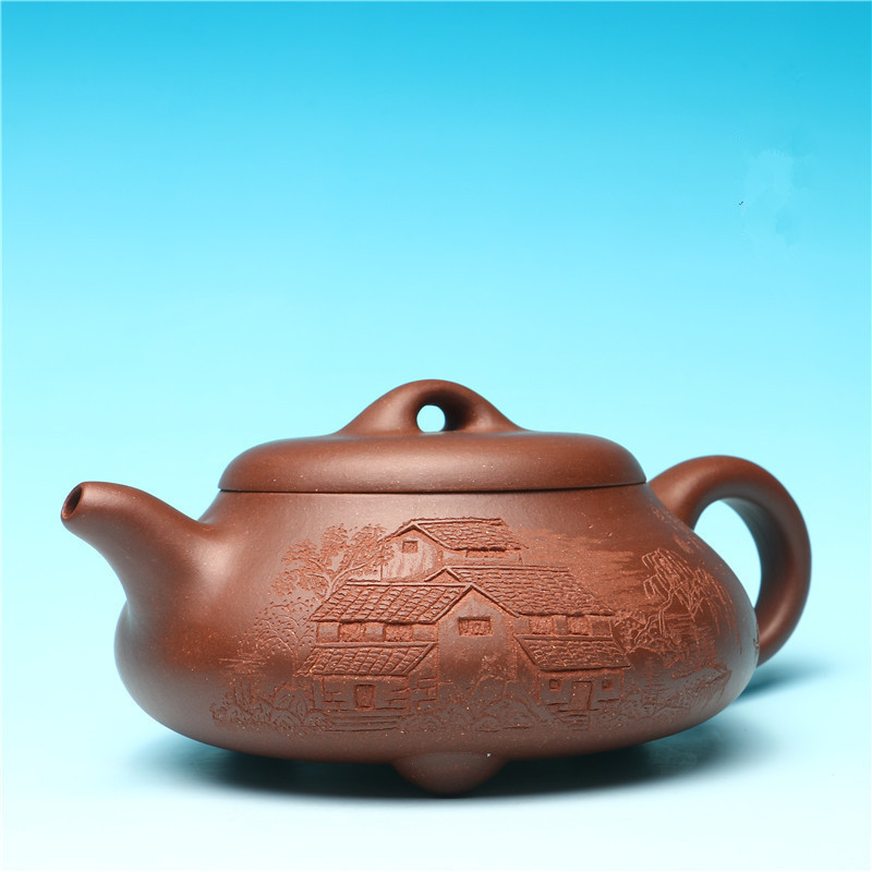 Free Shipping 400ml Creative Relief Landscape Painted Kung Fu Tea Pot Yixing Genuine Purple Clay teapot Factory Direct Gift BOXFree Shipping 400ml Creative Relief Landscape Painted Kung Fu Tea Pot Yixing Genuine Purple Clay teapot Factory Direct Gift BOX