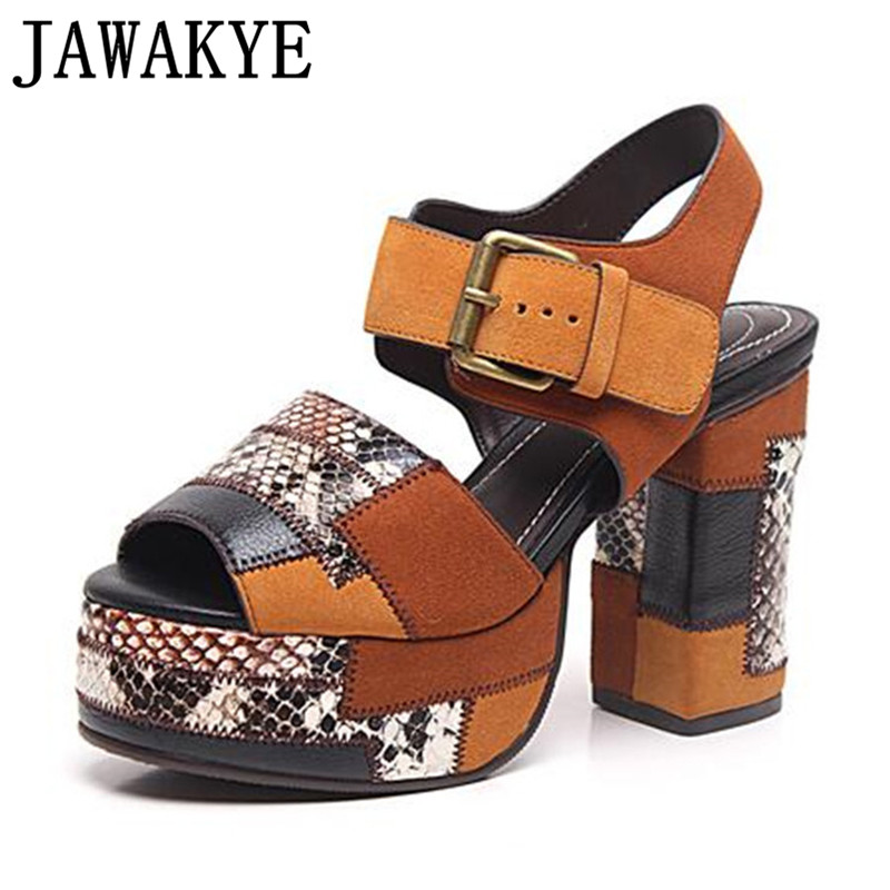 Summer snakeskin mixed color Sandals Women Open Toe suede platform sandals buckle strap thick heel Party