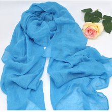 2018 Fashion Soft Cotton Linen Hijabs Muslim Islamic Sky Blue Scarf Women Scarves Solid Color Summer Ladies Voile Large Wraps