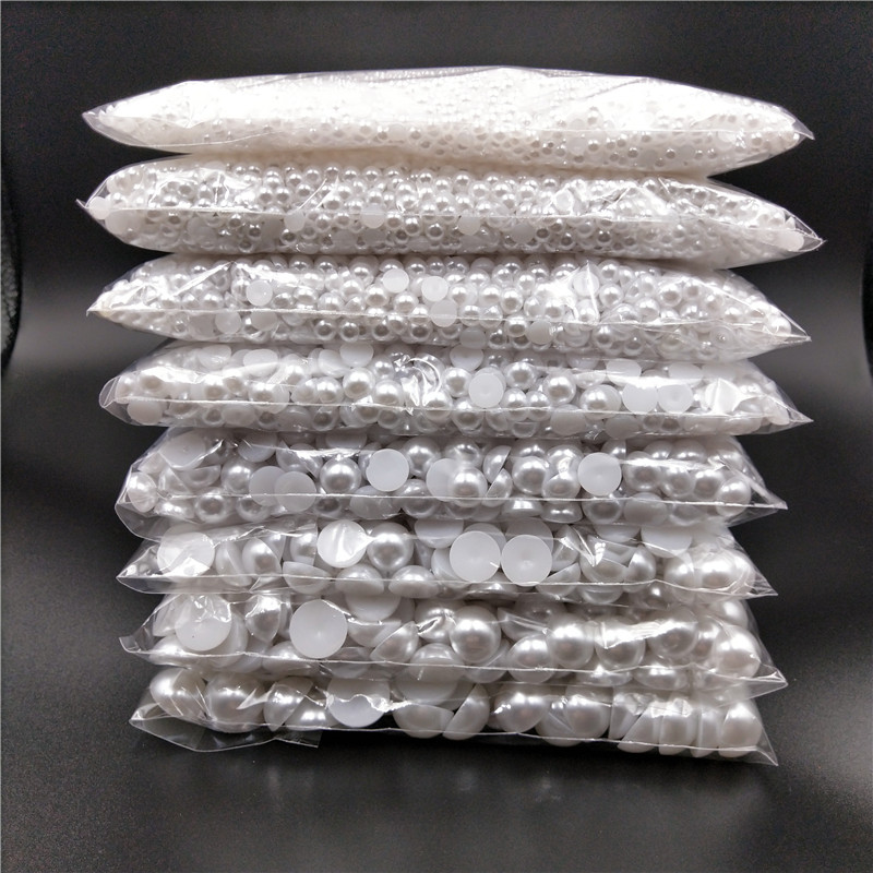 3 16mm Half Round Acrylic White Ivory Imitation Pearl Flatback Beads for Jewelry Making DIY Headwear Nail Art Phone Decorate in Beads from Jewelry Accessories