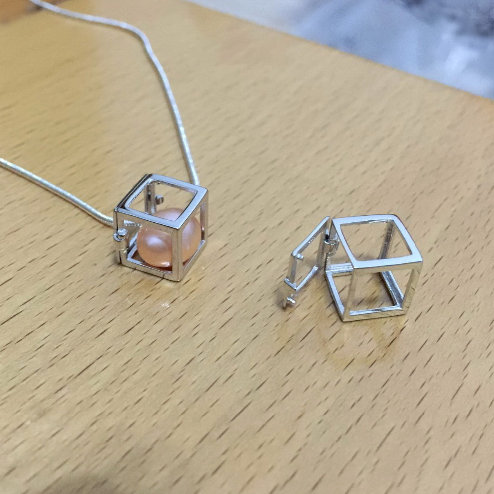 925 Sterling Silver Cute Hollow-out Cube shape Cage Pendant, Hollow Square Box style Can Hold Pearl Gem Locket Pendant Mounting