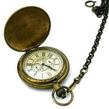 Чистые бронзовые резные часы archaize 24h с 5 стрелками карманные
