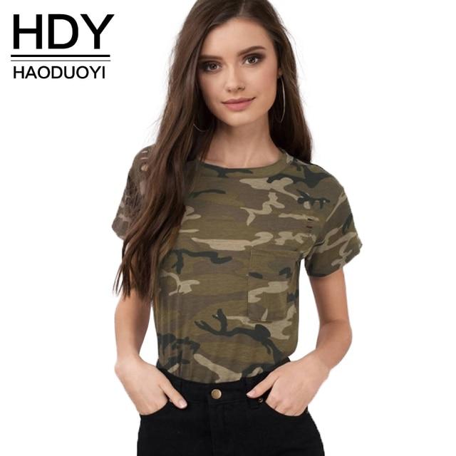 c7aeeb3146 HDY Haoduoyi 2017 Fashion Apparel Women T-shirt Casual Camouflage O-neck  Female Tees Streetwear Brief Pockets Lady Pullover Tops