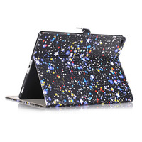 Ultra Slim Starry Sky Print Stand PU Leather Magnetic Smart Sleep Wake Protective Cover Case For