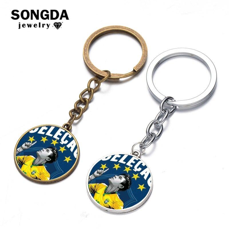SONGDA World Football Game Keychain Neymar Brazil Soccer Star Cartoon Art  Photo Glass Cabochon Key Ring 1f4b63dfd
