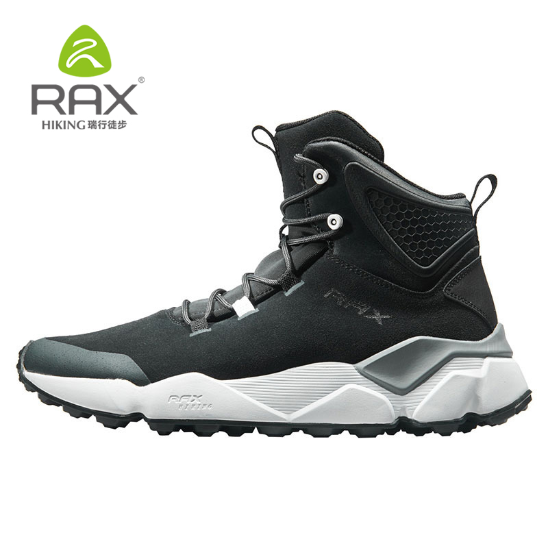 Rax Winter Running Shoes Men Genuine Leather Sport Shoes Running Snow Boots Outdoor Waterproof Warm Sneakers
