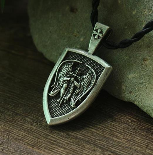 lanseis 1pcs dropshipping men necklace Archangel St.Michael Protect Me Saint Shield Protection Charm russian orhodox pendant 1