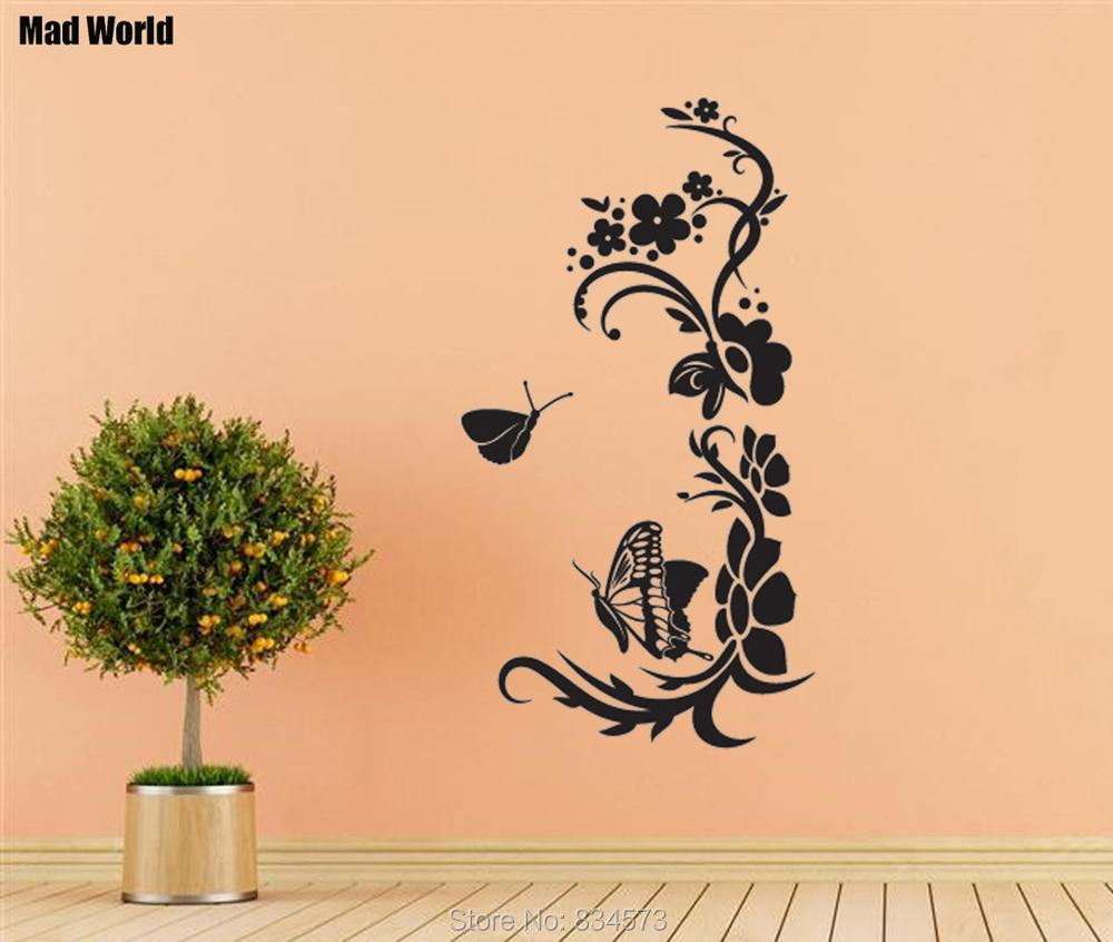 Mad World SWIRLY FLOWER Butterfly Silhouette Wall Art Stickers Wall ...