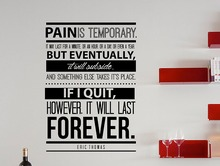 New arrival Eric Thomas Motivational Typography Quote wall sticker Office Home Decor Pain Is Temporary
