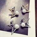 Design exclusivo Estrelas Brinco Mulheres Ouro/Prata Banhado A Configuração Simulado Brincos de Pérola Do Parafuso Prisioneiro