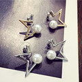 Unique Design Stars Earring Women Gold/Silver Plated Setting Simulated Pearl Stud Earrings